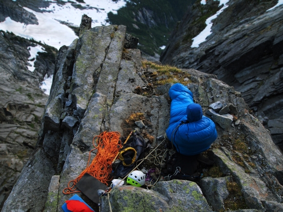 Pitch 18 bivouac on the North Rib of Mound Slesse, Cascade Range, British Columbia.