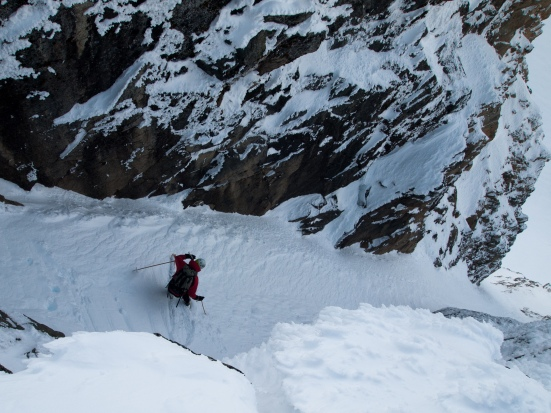 The author dropping into the East Birkenhead Glacier chute - Michal Rozworski photo.