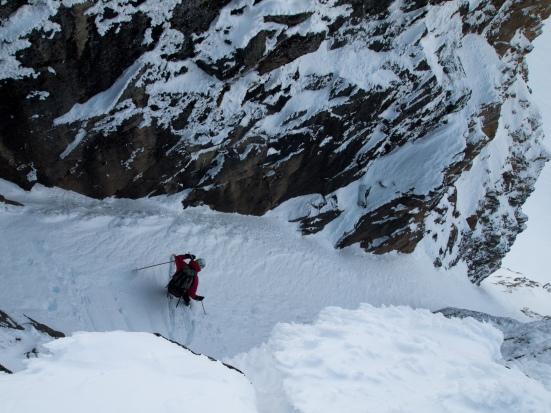 The author dropping into the East Birkenhead Glacier chute - Michal Rozworski photo.