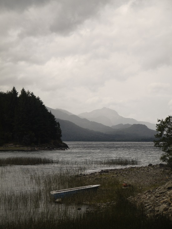 Lago Nahuel Huapi on the day we took three ferries, linked by carless tracks through the rainforest, back to Chile.