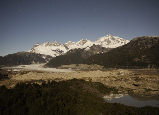 San Valentin and the Exploradores glacier in the moonlight.
