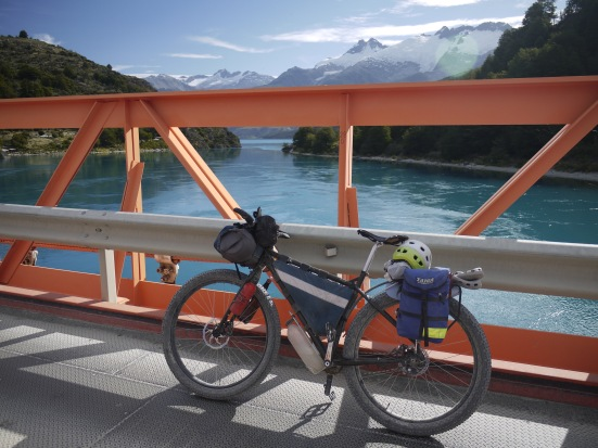 My bike on another bridge, at the outlet of Lago General Carrera, Chile's largest lake.