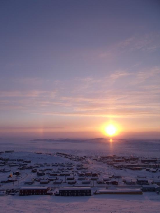 Sunset in Iqaluit, Nunavut (January 2014 - Kitching)