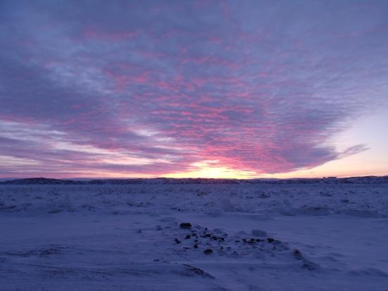 Sunset over broken ice, Iqaluit (January 2014 - Kitching)