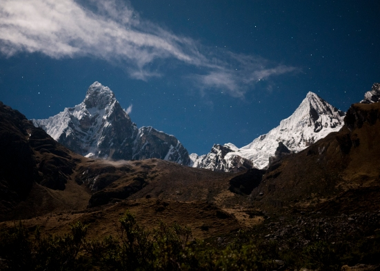 That first night, we camped near Carhuacocha, beneath the Huayhuash Range's highest peaks. These two are Jirishanca (6094m) and Jirishanca Chico (5445m).