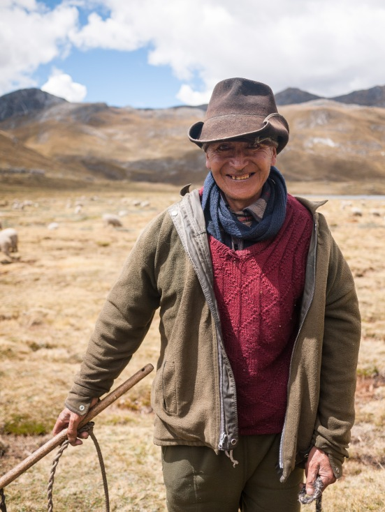 Near the hamlet of Huayhuash, we stopped to chat with Jose, a shepherd who has lived his life above 4000m, tending to his flock of 150 in the shadow of Sioula Grande.