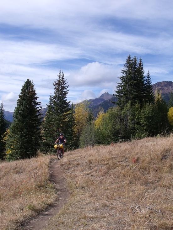 Erica shredding the gnar as we descend Gunn Creek