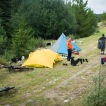 ...and forced to make camp for most of the day. In a rain-free moment, we hang our dripping gear.