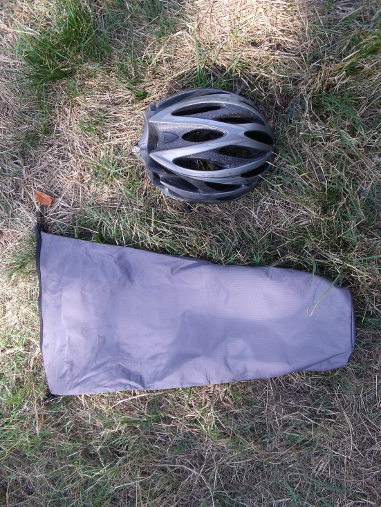 The dry bag next to my helmet for size/scale - note the tapered shape