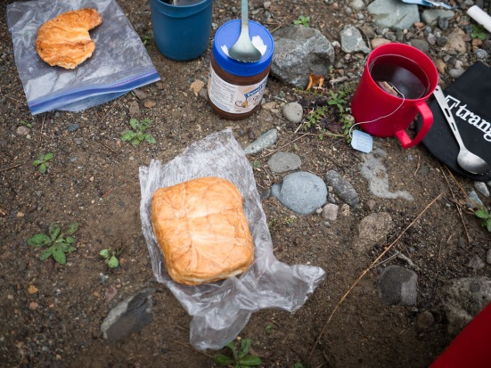 A typical BC bikepacker's breakfast. Croissants crushed into a brick. A.K.A. 'crushantes'.