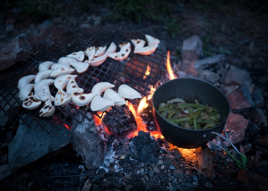 ...and cooked frozen perogies on the fire. A delight!